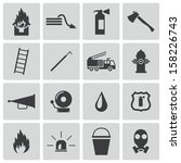 Vector Black  Firefighter Icons ...