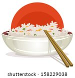 fried rice with asian... | Shutterstock .eps vector #158229038