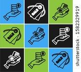 set line human hand holding... | Shutterstock .eps vector #1582329919