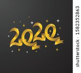 happy new years 2020 gold color   Shutterstock .eps vector #1582352863