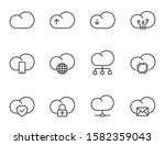 cloud computing outline icons...