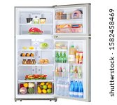 Open Refrigerator With Food...