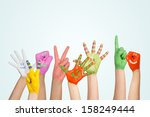 painted children's hands in... | Shutterstock . vector #158249444
