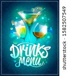 drinks menu cover design with... | Shutterstock . vector #1582507549