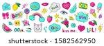 doodle 90s stickers. pop art... | Shutterstock . vector #1582562950
