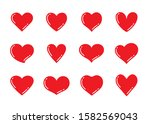 set of red and pink heart... | Shutterstock .eps vector #1582569043