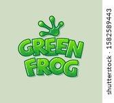 green frog logo. glossy letters ... | Shutterstock .eps vector #1582589443