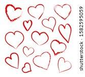 different heart hand drawn ... | Shutterstock .eps vector #1582595059