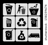 garbage icons set | Shutterstock .eps vector #158259674