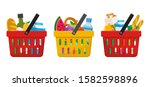 grocery purchase set.... | Shutterstock .eps vector #1582598896