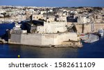 Ancient fortifications of Valletta, medieval castle city and stone walls fortification, Grand Harbour of Valletta, Malta