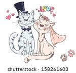 groom and bride  cat's wedding. ... | Shutterstock .eps vector #158261603
