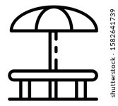 Round Table And Umbrella Icon....