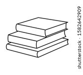 stack of books vector icon.line ...