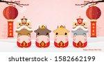 four little ox holding a sign... | Shutterstock .eps vector #1582662199