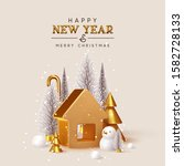happy new year  christmas trees ...   Shutterstock .eps vector #1582728133