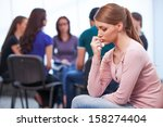 young upset woman on foreground.... | Shutterstock . vector #158274404