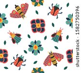 insect and floral background. ... | Shutterstock .eps vector #1582750396