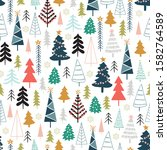 winter seamless pattern with... | Shutterstock .eps vector #1582764589