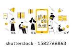 online book library concept.... | Shutterstock .eps vector #1582766863