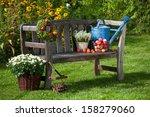 garden bench with autumn... | Shutterstock . vector #158279060
