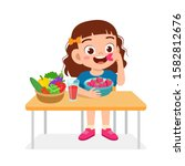 happy cute kid girl eat healthy ... | Shutterstock .eps vector #1582812676