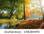Rural Autumn Park View In...