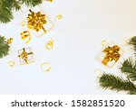 top view of presents with gold... | Shutterstock . vector #1582851520