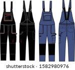 Work Dungaree Fashion Flat...
