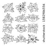 floral neo traditional tattoo...   Shutterstock .eps vector #1582986556