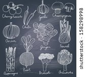 tasty vegetables in vector set  ... | Shutterstock .eps vector #158298998
