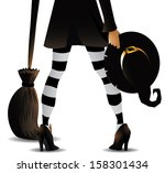 witch with hat and broomstick... | Shutterstock .eps vector #158301434