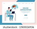 online doctor landing page....   Shutterstock .eps vector #1583026936