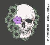 human skull and flower wreath.... | Shutterstock .eps vector #1583040523