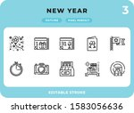 new year dashed outline icons...