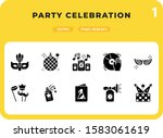party celebration glyph icons...