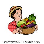 beautiful woman with a basket... | Shutterstock .eps vector #1583067709