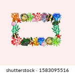 Frame Colored Corals Fish...