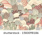 cacti and succulents on outdoor ... | Shutterstock .eps vector #1583098186