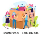 charity concept. people donate...   Shutterstock .eps vector #1583102536