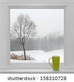 green teacup on a windowsill ... | Shutterstock . vector #158310728