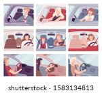 people driving cars set  view... | Shutterstock .eps vector #1583134813