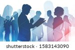 silhouettes of diverse business ... | Shutterstock . vector #1583143090