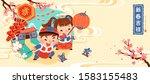 children lighting up... | Shutterstock .eps vector #1583155483