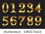 set of golden luxury numbers. | Shutterstock .eps vector #1583171623