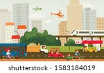 city traffic picture  transport ... | Shutterstock .eps vector #1583184019