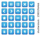 set 25 of square blue buttons...