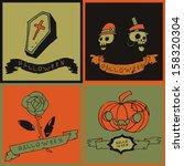 halloween postcard invitation....   Shutterstock .eps vector #158320304