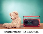retro toy teddy bear and radio... | Shutterstock . vector #158320736