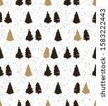 christmas trees on white... | Shutterstock . vector #1583222443